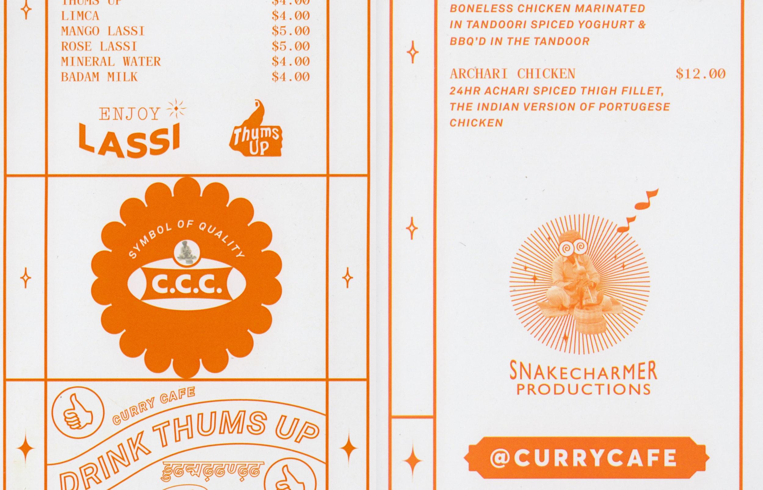 Curry Cafe Flemington 3 fold a4 take-away menu designed by More Studio
