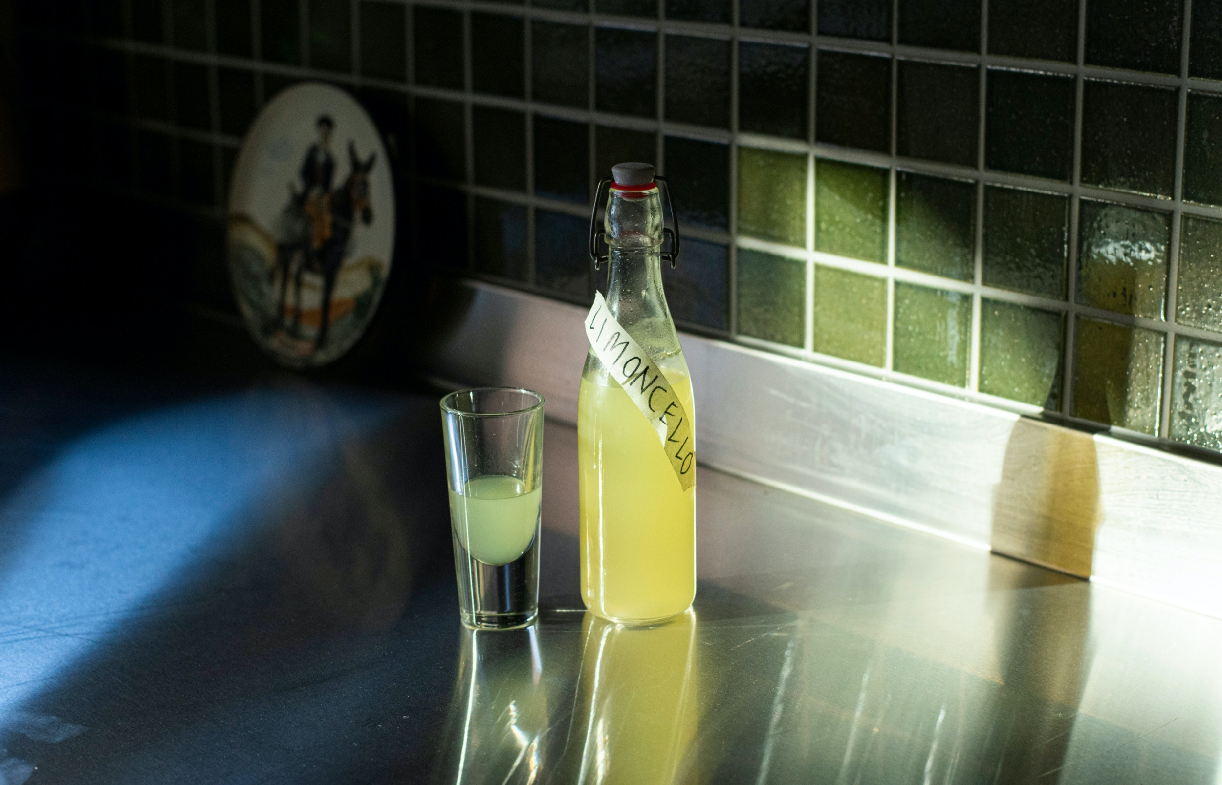 Homemade limencello by The Hardware Club. Photography by Josh Robenstone