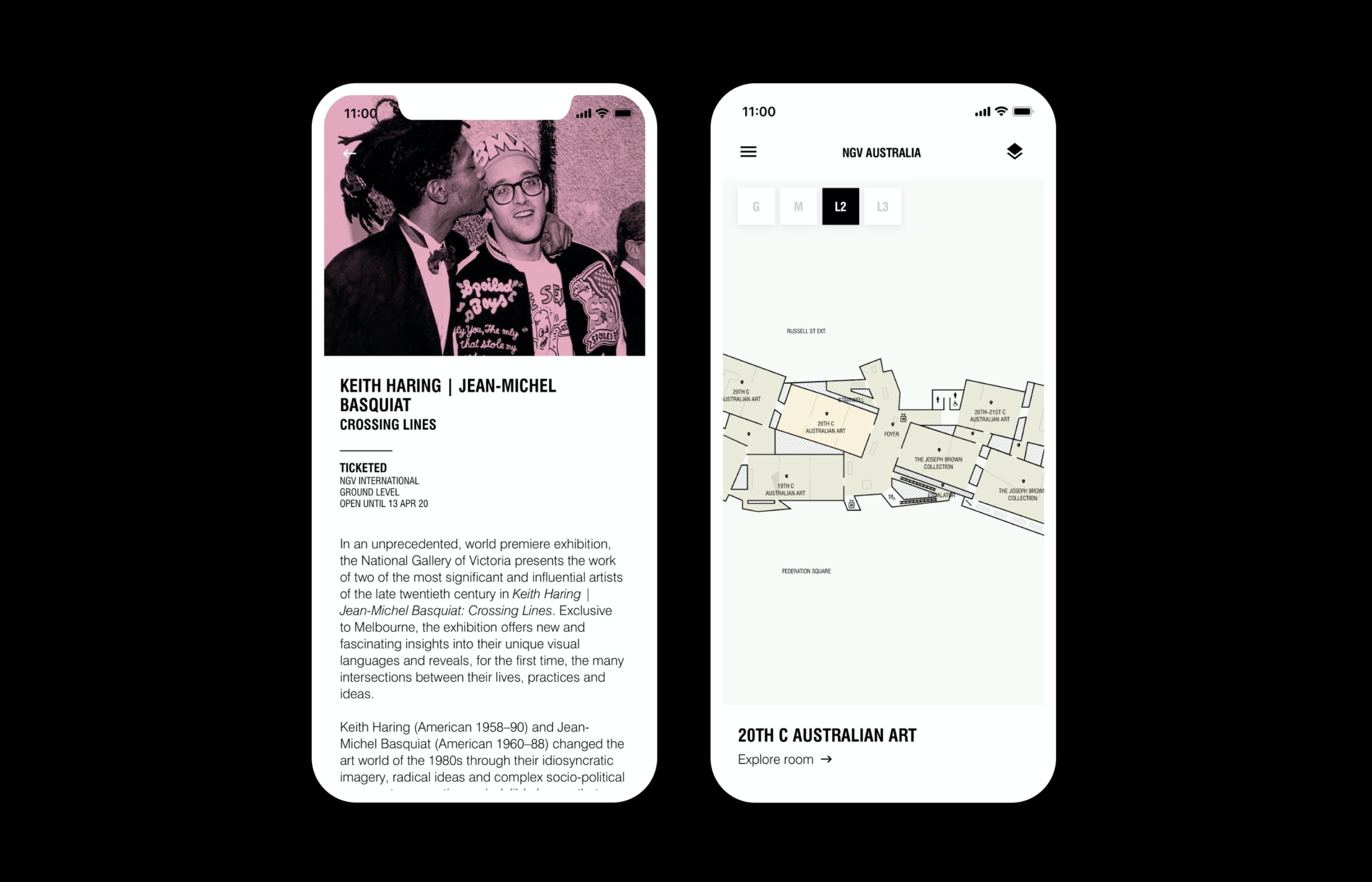 Keith Haring and Jean Michel Basquait exhibition shown on Mobile iOS app for National Gallery of Victoria NGV