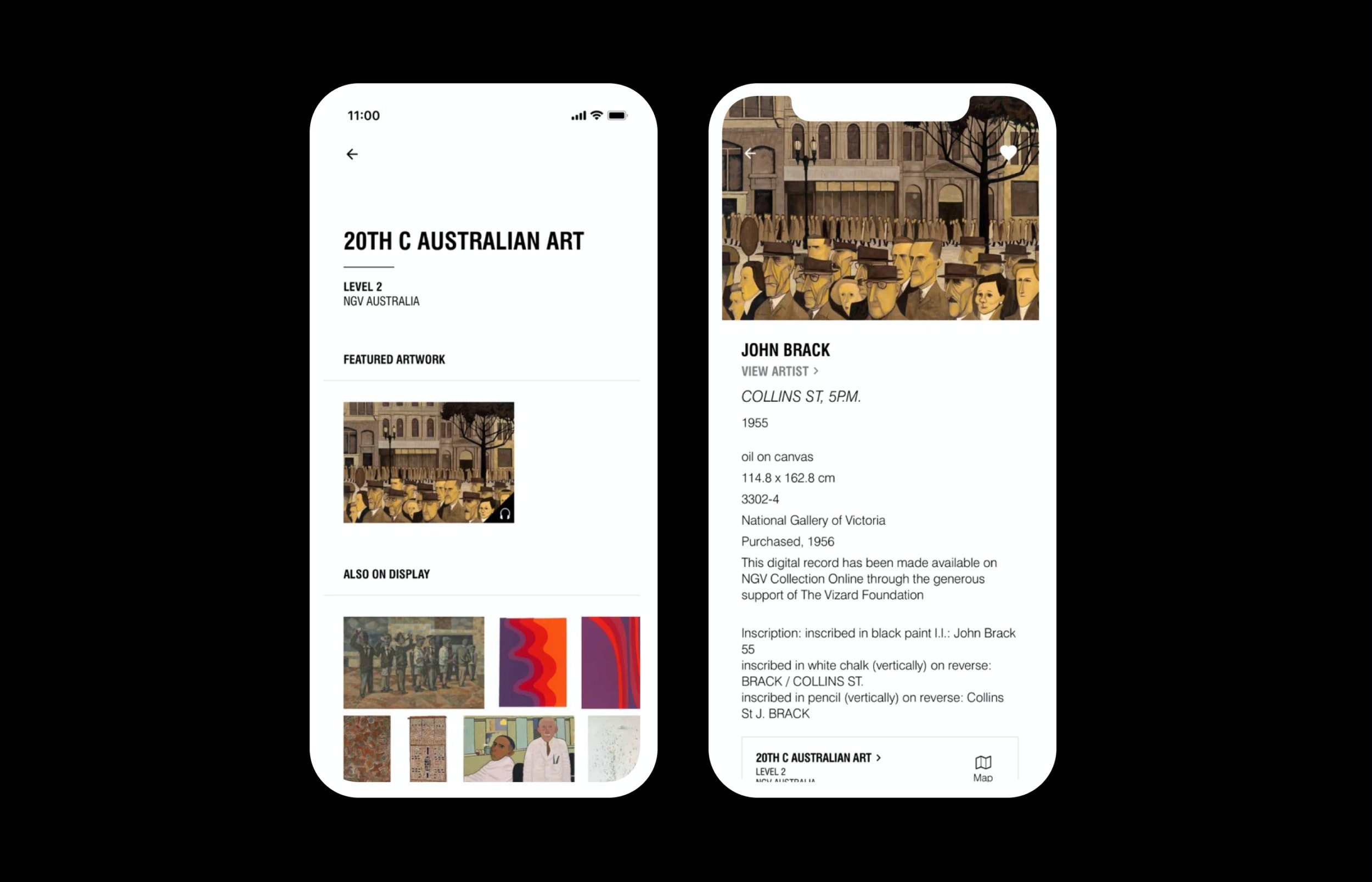 John Brack exhibition shown on Mobile iOS app for National Gallery of Victoria NGV